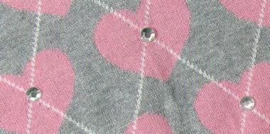 джемпер серый с розовыми сердечками